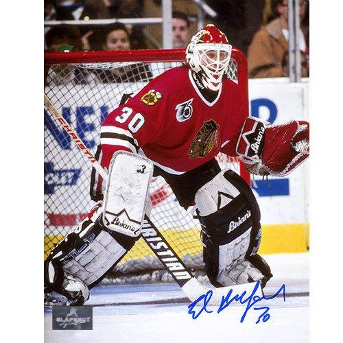 Ed Belfour Chicago Blackhawks Signed Goalie Action 8x10 Photo