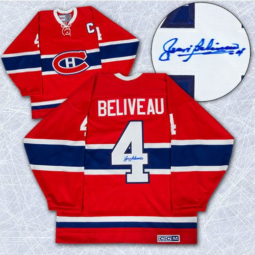 Jean Beliveau Jersey Signed Montreal Canadiens Vintage Jersey
