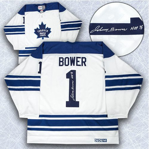 8d50d8ca3 Johnny Bower Signed Jersey-Toronto Maple Leafs White 1967 Stanley Cup Retro