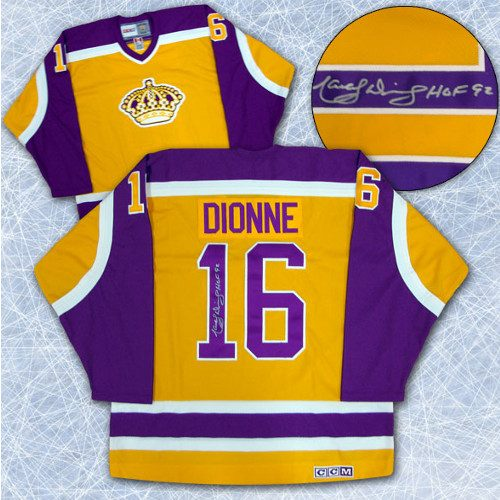 Marcel Dionne Signed Jersey-LA Kings Retro Yellow CCM