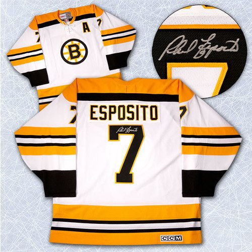 Phil Esposito Signed Jersey Boston Bruins White Vintage Jersey