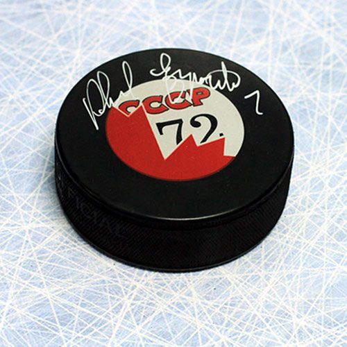 Phil Esposito 1972 Summit Series Team Canada/CCCP Signed Hockey Puck