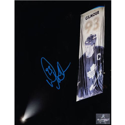 Doug Gilmour Banner Raising Night PhotoToronto Maple Leafs Signed 8x10|Doug Gilmour Toronto Maple Leafs Signed 8x10 Banner Raising Night Photo