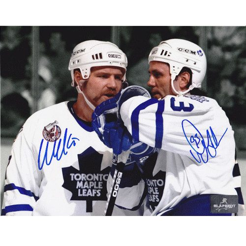 Wendel Clark Doug Gilmour Toronto Maple Leafs Signed 8x10 Photo|Doug Gilmour & Wendel Clark Toronto Maple Leafs Dual Signed Spotlight 8x10 Photo