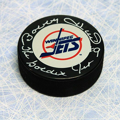 Bobby Hull Winnipeg Jets Signed Hockey Puck with Golden Jet Inscription