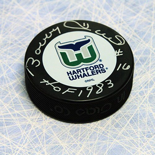 Bobby Hull Signed Puck Hartford Whalers Puck with HOF note