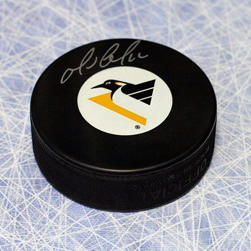 Mario Lemieux Autographed Puck Pittsburgh Penguins Flying Penguin Logo