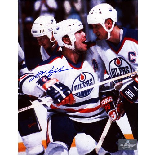 Mark Messier Signed Photo Edmonton Oilers Celebrating with Gretzky