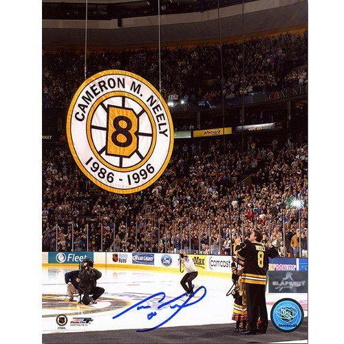 Cam Neely Retirement Boston Bruins Banner Night Signed 8x10 Photo