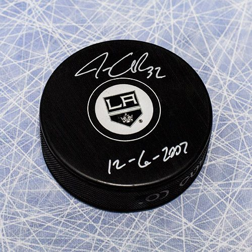 Jonathan Quick Signed Puck-LA Kings 1st Game Note