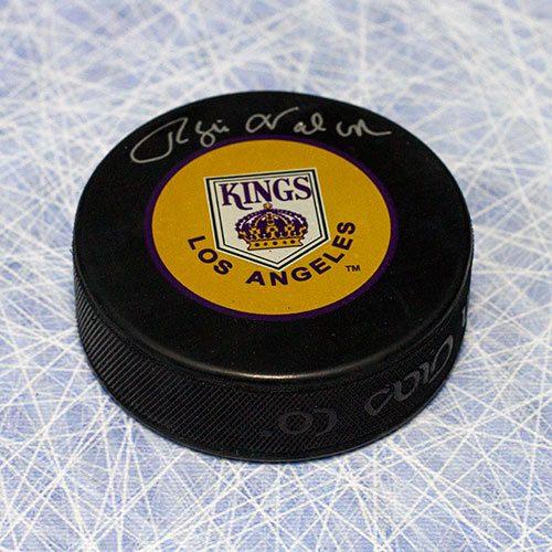 Rogie Vachon Autograph Puck-LA Kings Retro Logo