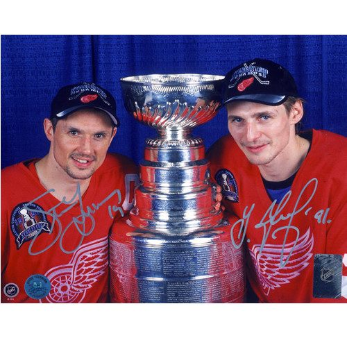 Steve Yzerman and Sergei Fedorov Detroit Red Wings Dual Signed Stanley Cup 8x10 Photo
