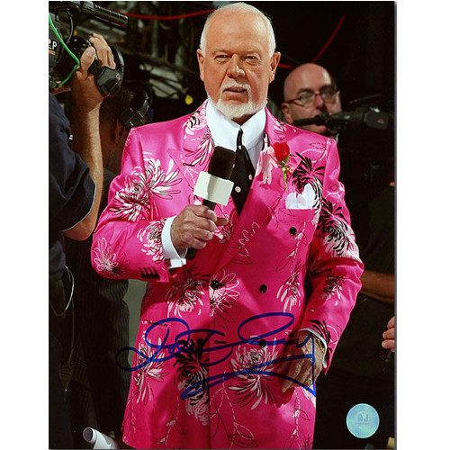 Don Cherry Flower Suit Pink Hockey Night In Canada Signed 8x10 Photo
