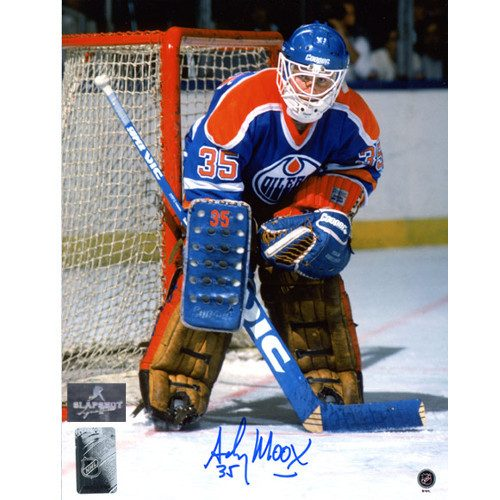 Andy Moog Signed Edmonton Oilers 8X10 Photo