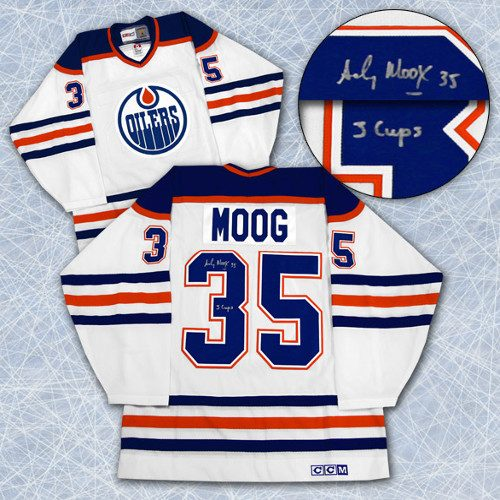 "Andy Moog Signed Jersey Edmonton Oilers CCM Vintage ""3 Cups"""