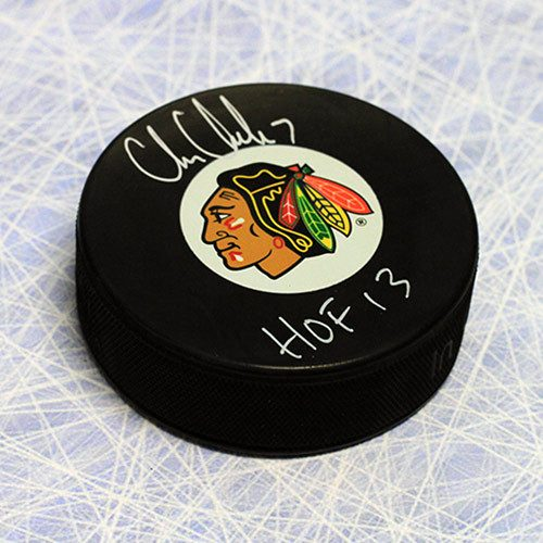 Chris Chelios Signed Puck-Chicago Blackhawks-HOF note