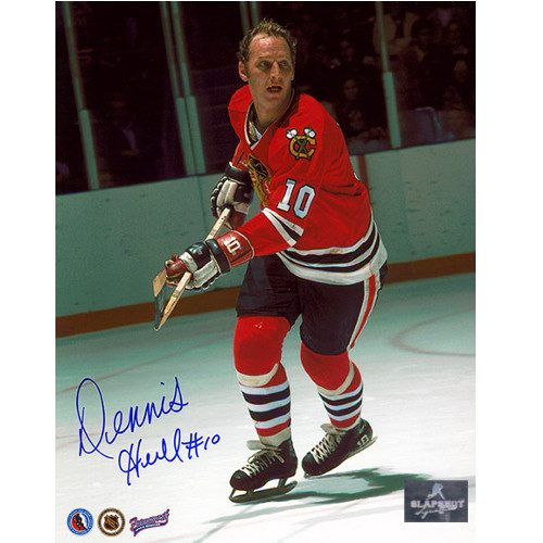 Dennis Hull Hockey Photo- Signed Chicago Blackhawks 8x10