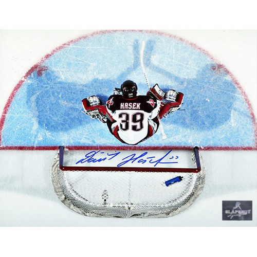 Dominik Hasek Buffalo Sabres Autographed 8X10 Overhead Photo