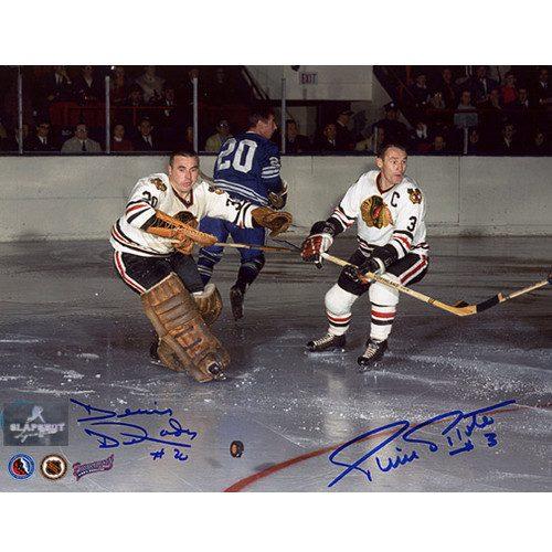 Denis Dejordy & Pierre Pilote Signed Chicago Blackhawks 8X10 Photo