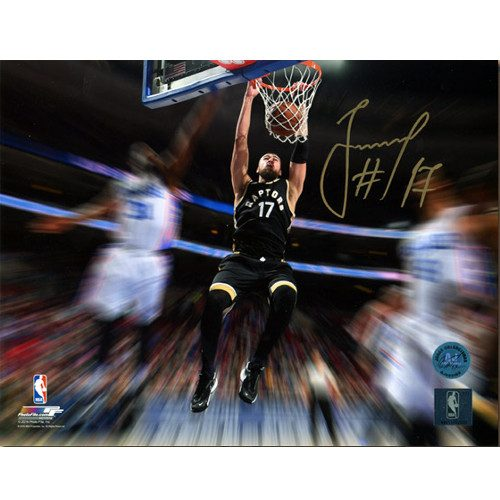 Jonas Valanciunas Raptors Gold Dunk Signed 8x10 Photo
