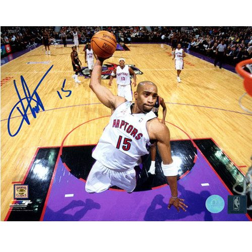 Vince Carter Dunk-Raptors Net-Cam Signed 8x10