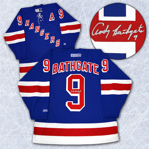 Andy Bathgate New York Rangers Signed Vintage Hockey Jersey 2ab7b3a8f64
