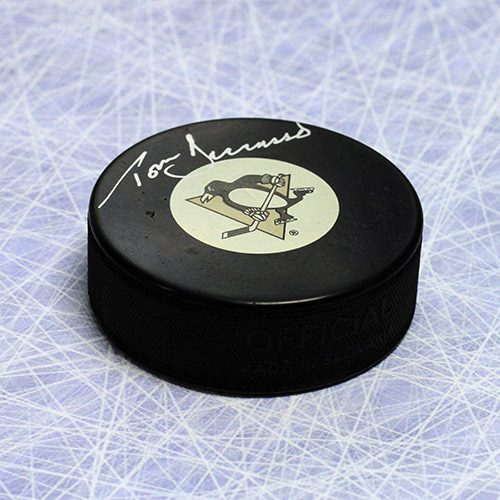 Tom Barrasso Pittsburgh Penguins Signed Hockey Puck