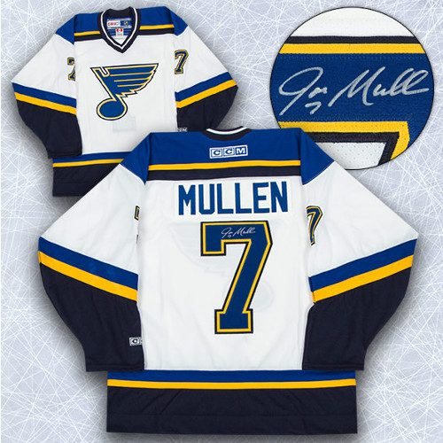 Joe Mullen St Louis Blues Signed CCM Vintage Style Jersey