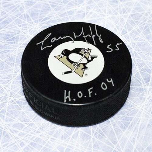 """Larry Murphy Pittsburgh Penguins Signed Hockey Puck with """"HOF"""""""