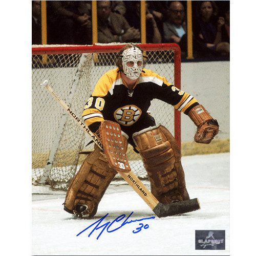 Gerry Cheevers Boston Bruins Vintage Action Signed Photo 8x10