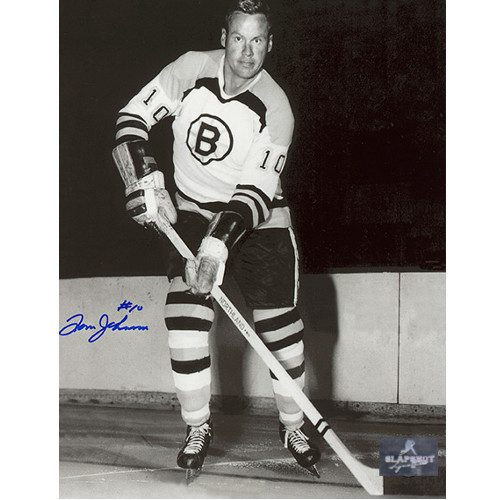 Tom Johnson Bruins Autographed Photo-Black & White 8x10