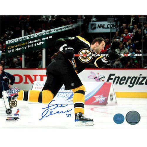 Zdeno Chara Hardest Shot NHL History Signed Photo-Bruins 8x10