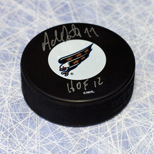 Adam Oates Hockey Puck Signed Hall of Fame-Washington Capitals