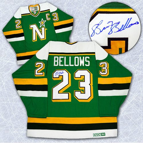 Brian Bellows Signed Jersey Minnesota North Stars Retro CCM Hockey Jersey
