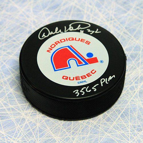 Dale Hunter Quebec Nordiques Autographed Eagle Puck w/ PIM Inscription