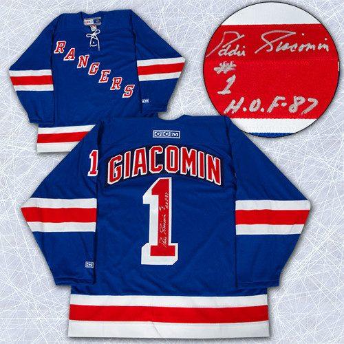 Ed Giacomin Signed Jersey New York Rangers Vintage Hockey Jersey