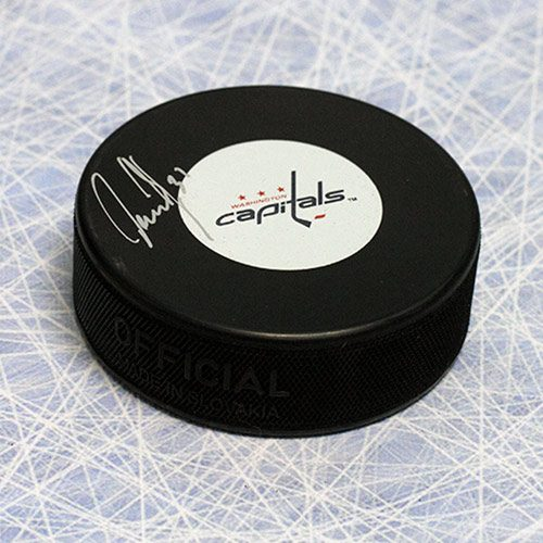 Olaf Kolzig Washington Capitals Autographed Last Game Logo Hockey Puck