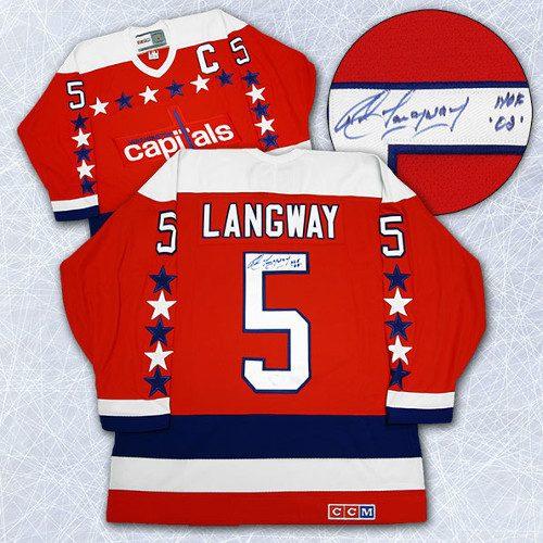 Rod Langway Signed Jersey-Washington Capitals Retro CCM Hockey Jersey