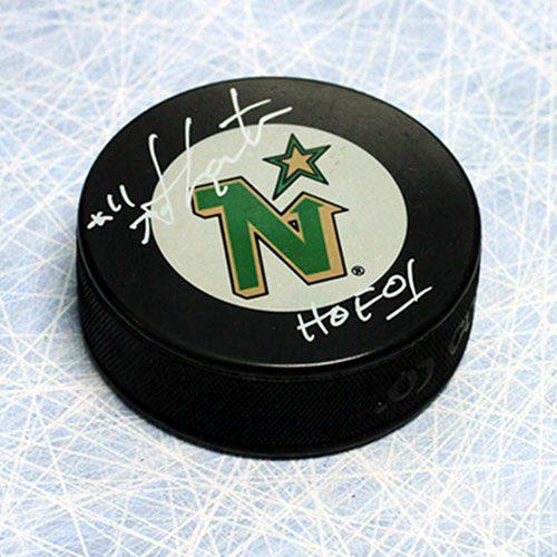 Mike Gartner Signed Puck-Minnesota North Stars Hockey Puck with HOF Inscription