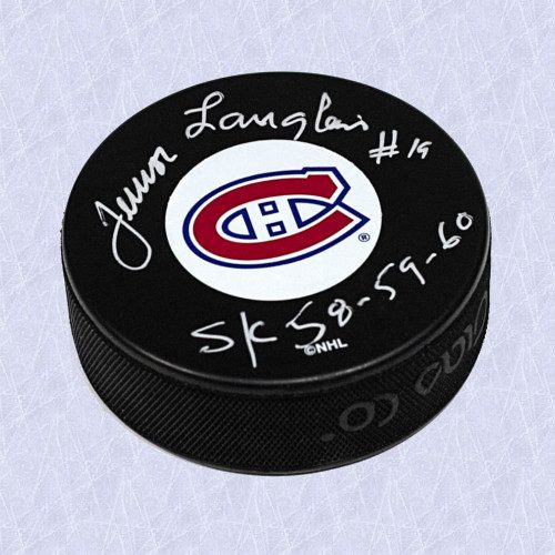 Albert Junior Langlois Montreal Canadiens Autographed Hockey Puck