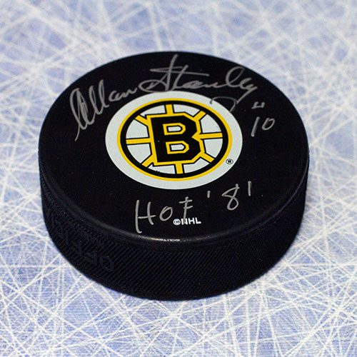 Allan Stanley Hall of Fame Signed Hockey Puck-Boston Bruins