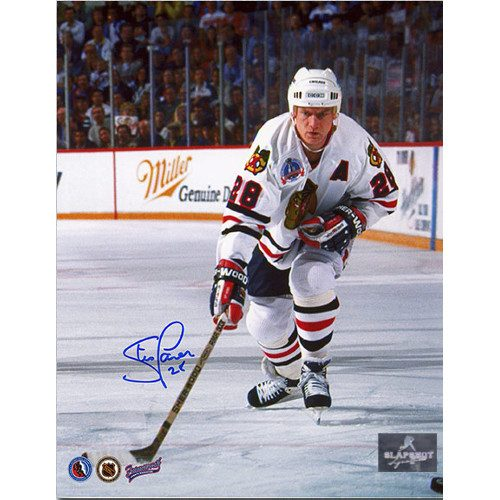 Steve Larmer Chicago Blackhawks Autographed Cup Finals Action 8x10 Photo