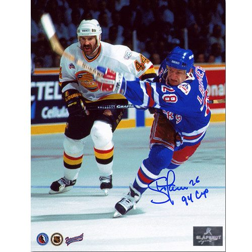 Steve Larmer New York Rangers Signed 1994 Stanley Cup Finals 8x10 Photo