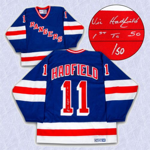 Vic Hadfield New York Rangers Jersey-Autographed Retro CCM w/ 1st To 50 Note