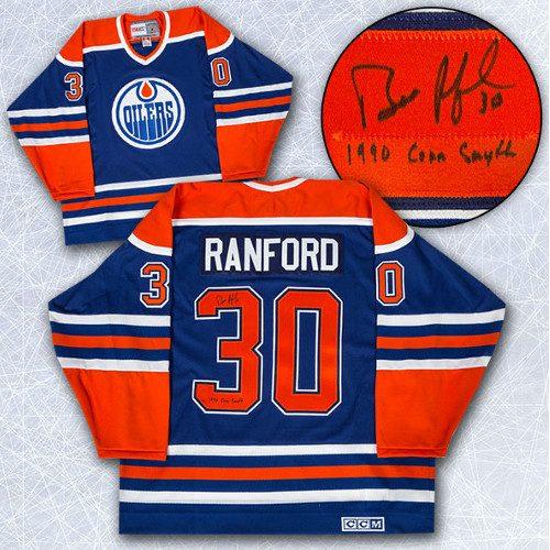 Bill Ranford Edmonton Oilers Jersey-Signed w/ 90 Conn Smythe Retro CCM Jersey