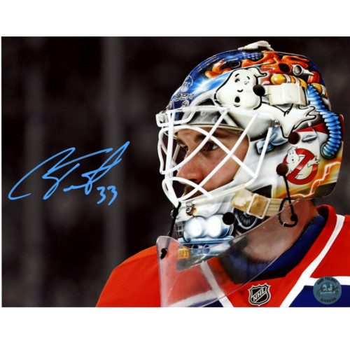 Cam Talbot Ghostbusters Mask Closeup Signed Photo-8x10 Edmonton Oilers
