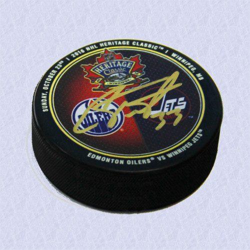 Cam Talbot Heritage Classic 2016 Dual Logo Signed Hockey Puck-Edmonton Oilers