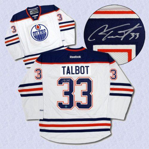 Cam Talbot Oilers Jersey-Autographed White Reebok Premier Hockey Jersey