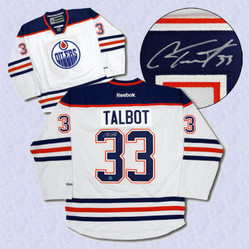 Cam Talbot Oilers Jersey-Autographed White Reebok Premier Hockey Jersey c6a04341118