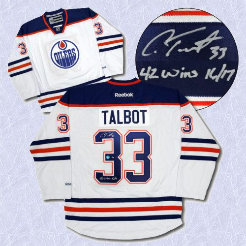 Cam Talbot Signed Jersey-Oilers Noted 2017 Wins Record Hockey Jersey LE #/33